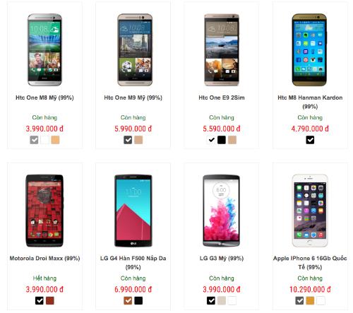 Điện thoại cũ đã qua sử dụng được bày bán tại nhiều cửa hàng điện thoại hàng xách tay.