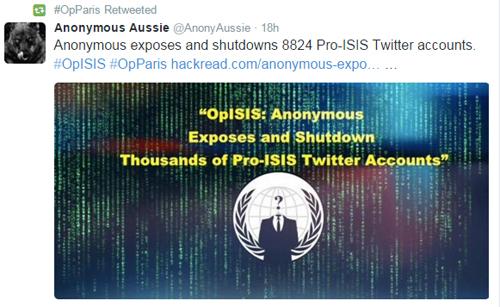 Hàng nghìn tài khoản Twitter có dính líu đến IS bị đánh sập trong chiến dịch OpParis.