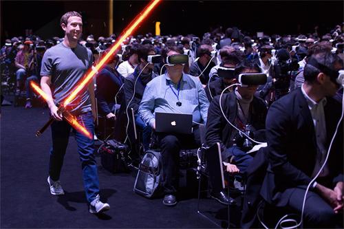 Mark Zuckerberg giống như thủ lĩnh phe bóng tối đang điều khiểnquân đoàn Stormtrooper đeo mặt nạ kỳ dị