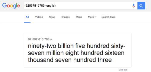 """Thậm chí, Google còn có thể giúp bạn phát âm chuẩn những dãy số dài tới 12 ký tự nếu bạn gõ từ cần đọc """"= tiếng anh""""."""