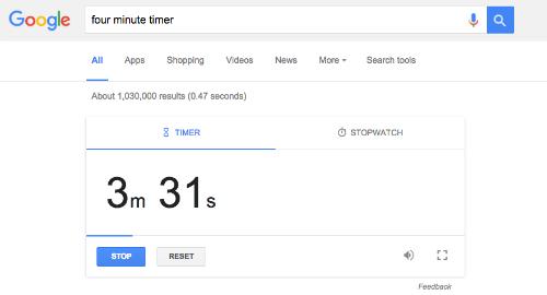 Bất cứ khi nào bạn cần đếm ngược hoặc đặt báo thức mà không có sẵn ứng dụng trong điện thoại di động, hay truy cập vào trình duyệt web và search Timer trên Google.  Bạn sẽ nhận được bộ đếm ngược và nó sẽ phát ra chuông báo thức khi hết thời gian thiết lập.