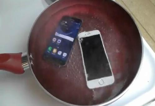 Galaxy S7 và iPhone 6s cùng được đem đun sôi,