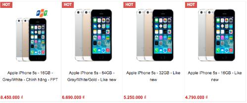 Giá của iPhone 5s ngày càng rẻ, ngang các smartphone Android phổ thông và tầm trung.