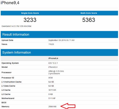 Điểm hiệu năng của iPhone 7 Plus trên công cụ GeekBench.