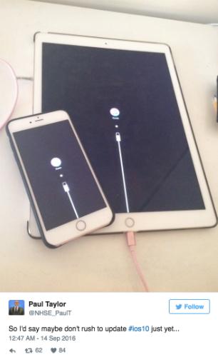Hệ điều hành iOS 10 khiến nhiều thiết bị bị treo cứng khi nâng cấp.