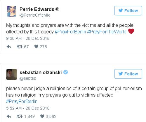 Các thông điệp chia sẻ nỗi đau và cầu nguyện cho Berlin ngập tràn mạng xã hội.