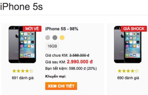 Mức giá của iPhone 5s xuống thấp nhất kể từ có mặt ở Việt Nam.
