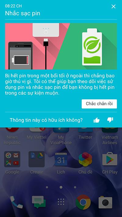 HTC U sẽ tự động theo dõi việc sử dụng pin và nhắc sạc pin.
