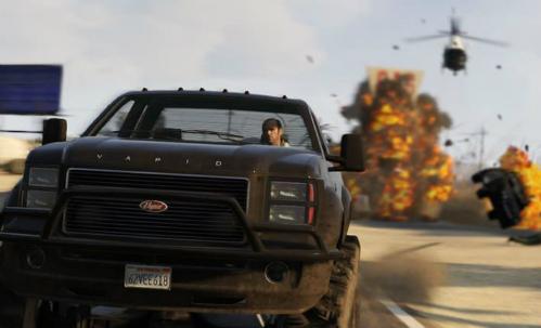 Cảnh lái xe trong game Grand Theft Auto V.