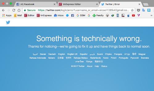 Thông báo về lỗi của Twitter.