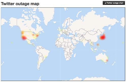 Những khu vực trên thế giới mà mạng xã hội Twitter bị sập.