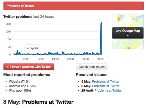Mạng xã hội Twitter bị ảnh hưởng chỉ sau Facebook khoảng nửa giờ, nhưng cũng diễn ra trên diện rộng, toàn cầu.