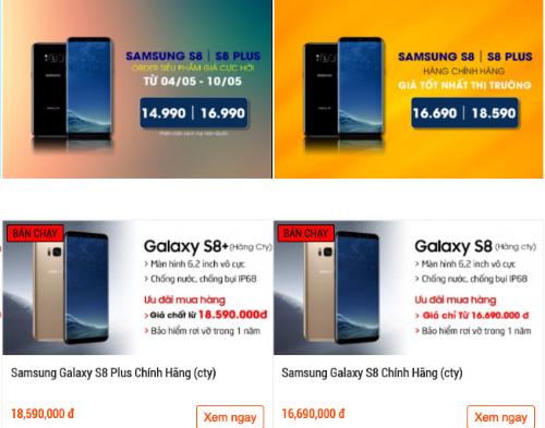 Giá Galaxy S8 và S8+ chính hãng mỗi nơi một khác nhưng rẻ hơn niêm yết của Samsung tới vài triệu đồng.