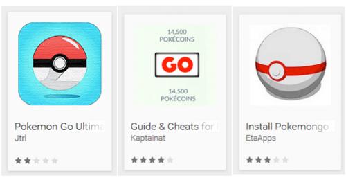 Các ứng dụng giả mạo game Pokemon Go năm 2016 trên Google Play.