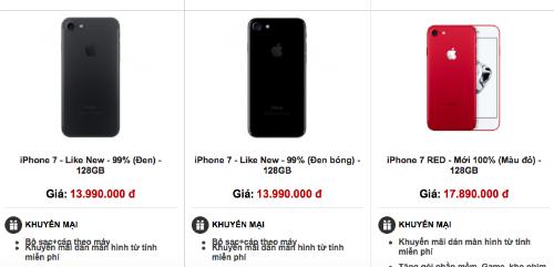 iPhone 7 và 7 Plus qua sử dụng bắt đầu phổ biến và được các cửa hàng xách bán như hàng mới, nhưng giá rẻ hơn vài triệu đồng.