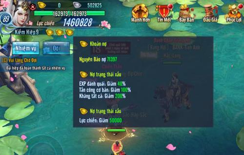 Người chơi này bị hệ thống trừ hơn 71.000 Nguyên Bảo. Để trả nợ, game thủ này cần nạp vào game gần 18 triệu đồng.