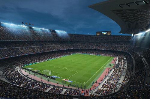 Sân Camp Nou trong game PES 2018.