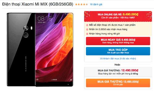 Ế hàng khiến cho Mi Mix giảm giá gần một nửa chỉ trong 3 tháng.