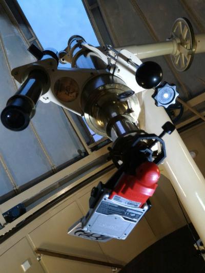 GameBoy Camera được gắn vào kính thiên văn.