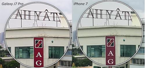 So sánh độ chi tiết của camera 13 megapixel ở Galaxy J7 Pro với 12 megapixel ở iPhone 7.