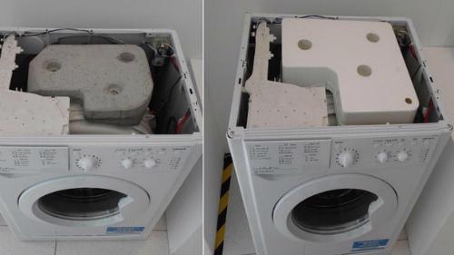 Bê tông trong máy giặt (trái) và vật liệu mới thay thế (phải).