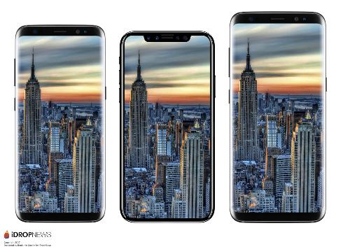 Màn hình tràn viền ở iPhone 8 bị lõm ở cạnh trên thay vì phẳng như ở bộ đôi Galaxy S8.