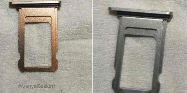 Màu Blush Gold trên khay sim được cho là của iPhone 8.