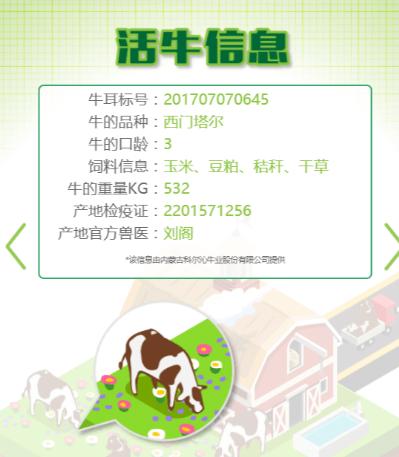 Ví dụ về thông tin dữ liệu sản phẩm trên thịt bò.