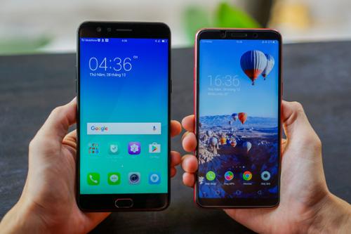 OppoF5 nhỏ gọn hẳn so với smartphone cùng kích thước màn hình 6 inch.