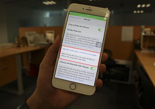 Tính năng chẩn đoán chỉ xuất hiện sau khi liên lạc với Apple.