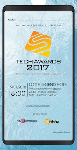 Thư mời phác hoạ sân khấu chương trình Tech Awards 2017 tổ chức tại hồ bơi.