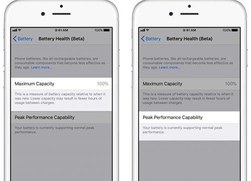 Sau khi nhấp vào, người dùng có thể xem một số thông tin về tình trạng pin của iPhone. Nếu pin vẫn còn mới 100%, tùy chọn tắt giảm hiệu năng sẽ không xuất hiện.