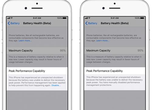 Nếu pin iPhone đã bị chai và từng bị tắt nguồn đột ngột, phần Peak Performance Capability có thêm tùy chọn Disable.