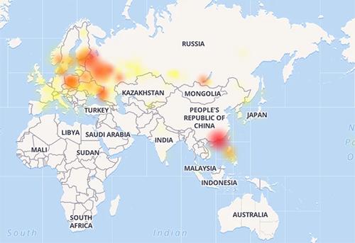 Bản đồ cho thấy các vùng bị ảnh hưởng lỗi kết nối Instagram.