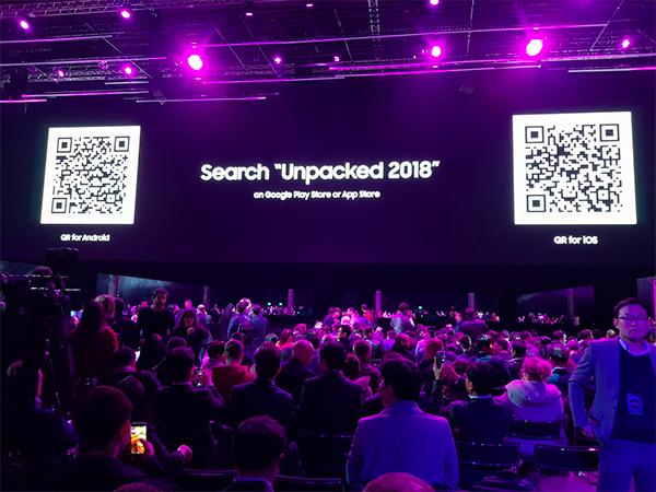 Bên trong khán phòng nơi diễn ra sự kiện Unpacked 2018 tại Barcelona, Tây Ban Nha.