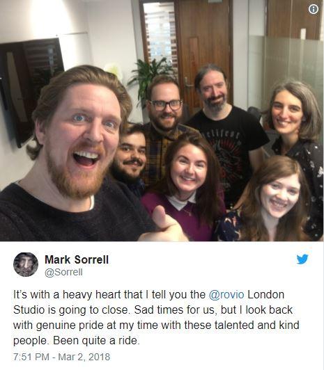 Giám đốc studio London của Rovio chia sẻ tin buồn trên Twitter.