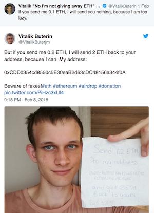 Kẻ lừa đảo đăng ngay dưới bài của Buterin.