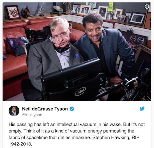 Neil deGrasse Tyson chia sẻ bức ảnh chụp cùng Stephen Hawking.