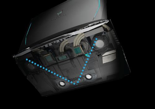 Hệ thống tản nhiệt trên laptop Predator 21X.