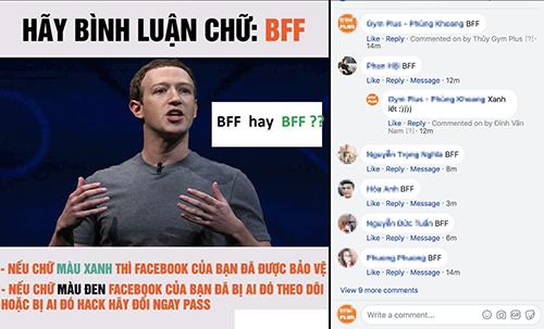 Trào lưu bình luận BFF để kiểm tra độ an toàn của tài khoản đang lan truyền trên Facebook.