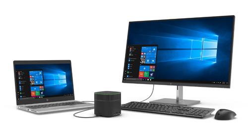 Giải pháp bàn làm việc linh hoạt, hiệu suất, tiết kiệm không gian cho doanh nghiệp vừa và nhỏ với máy tính cơ động EliteBook 800 series G5, trạm kết nối đa năng Thunderbolt Dock G2 và màn hình 4K độ nét cao EliteDisplay S270n.