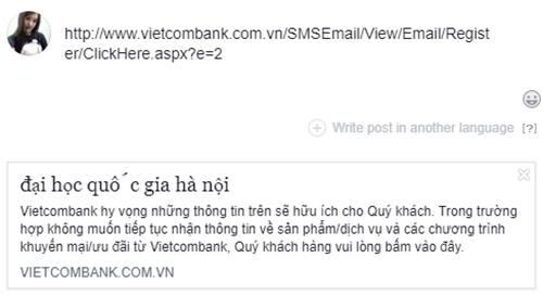Khi chia sẻ đường link tới website của Vietcombank lên Facebook, phần tiêu đề lại xuất hiện dòng chữ đại học quốc gia hà nội.