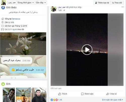 Một người dùng Facebook tại Syria phát sóng tình hình thực tế lên mạng xã hội.