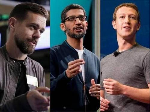 CEO Dorsey của Twitter (bên trái) và Pichai của Google (ở giữa)có thể phải điều trần trước Quốc hội Mỹ sau Zuckerberg (bên phải).