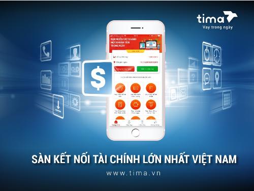 Giao diện Sàn kết nối tài chính Tima trên di động.