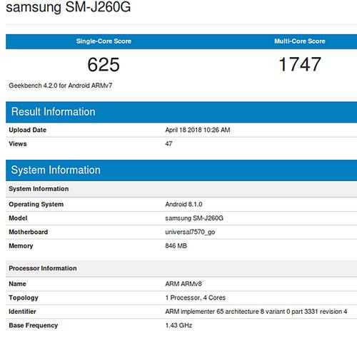 Thông tin smartphone của Samsung trên Geekbench.