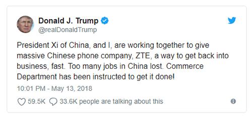 Bài đăng của Tổng thống Mỹ Donald Trump trên Twitter.