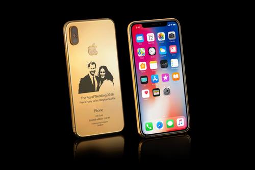 iPhone X phiên bản siêu sang có in hình vợ chồng Hoàng tử Anh Harry.