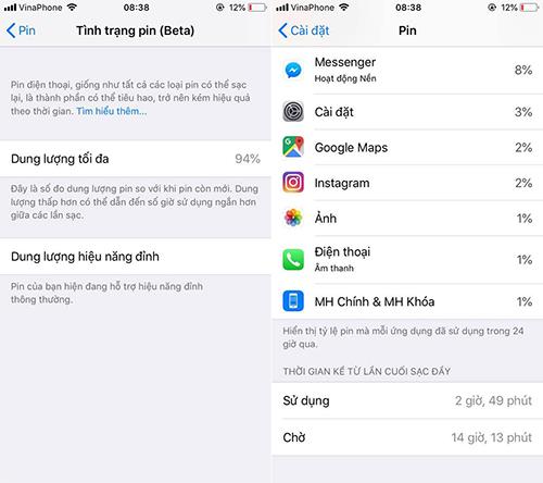 Chiếc iPhone 6s chỉ còn 12% pin sau gần 3 giờ sử dụng.