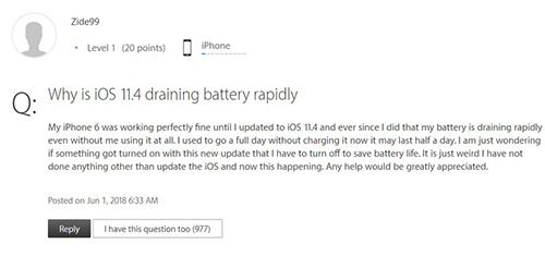 Chủ đề sụt pin trên trang hỗ trợ Apple nhận được nhiều sự quan tâm.